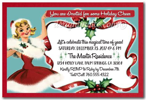 retro vintage christmas holiday party invitations di