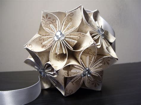 Origami Flower Balls - wedding w rhinestones kusudama origami paper flower