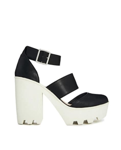 black and white high heels shoes
