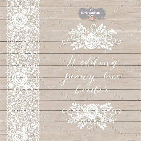 Wedding Invitation Lace Clipart by Vector Wedding Peony Lace Border Illustrations