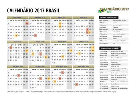 Calendario Completo 2017 Calend 193 2017 Feriados Todos Os Estados