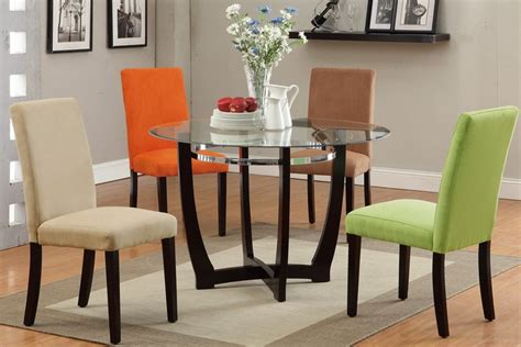 furniture round modern dining tables with parson dining colorful dining chairs with round glass dining table
