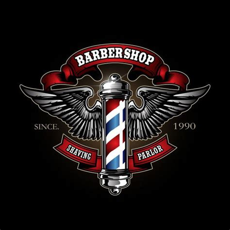 retro barber pole logo   barber logo barber shop barber
