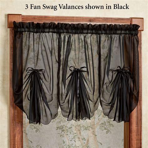 sheer swag curtains emelia sheer fan swag valances