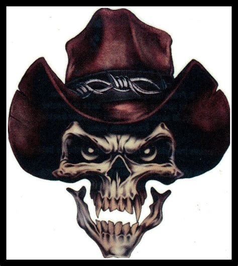 cowboy skull tattoo for the big cowboy sheriff outlaw evil