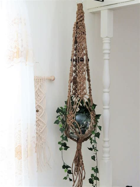 Macrame Patterns For Hanging Plants - jute macrame plant hanger macrame hanging planter large