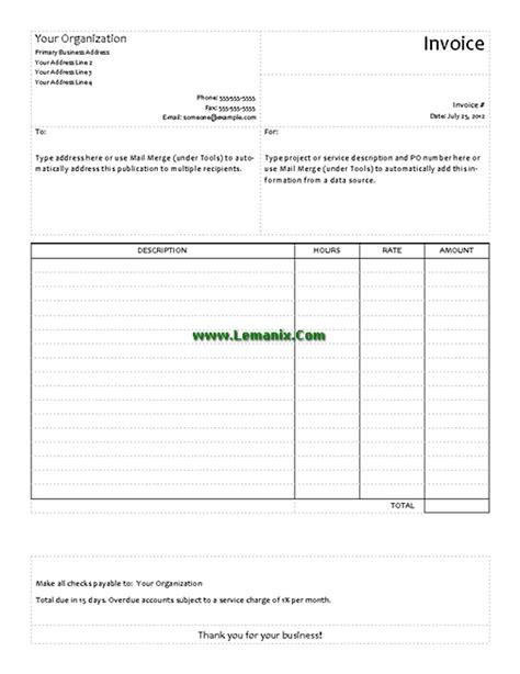 publisher invoice template publisher templates service invoice for publisher 2013 or