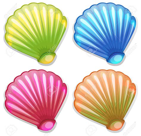 seashell color starfish clipart colorful shell pencil and in color