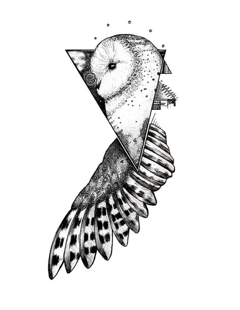 Geometric Tattoo Bristol | geometric owl blackwork tattoo pen and ink on bristol