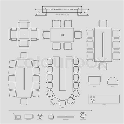 office furniture symbols for office layout office and conferance business outline furniture icon top