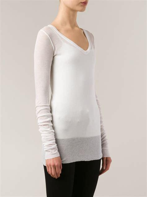 Sleeve Sheer T Shirt lyst rick owens lilies sleeve sheer t shirt in white