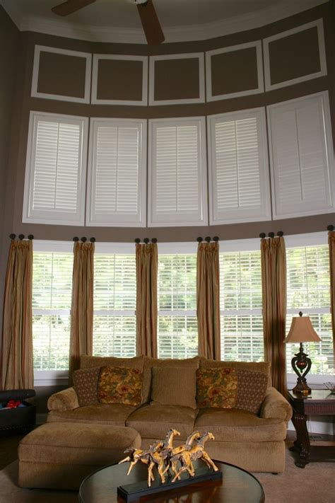 two story family room two story family room plantation shutters on top would be easier to open year for the