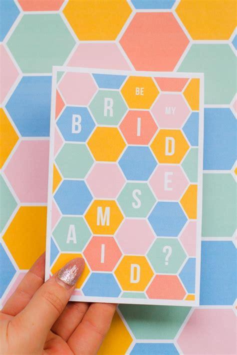 printable geometric stationery free printable be my bridesmaid cards theyre modern fun