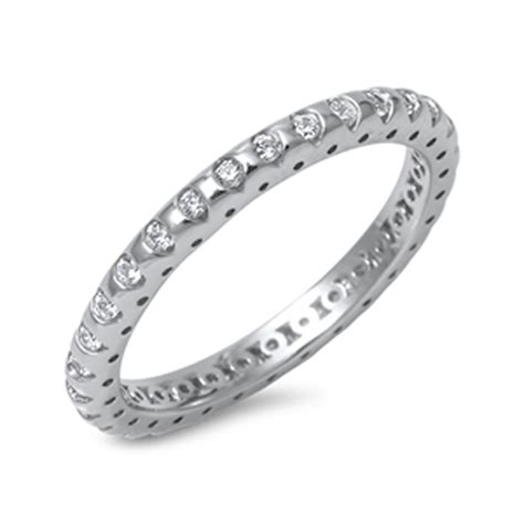 eternity clear cz promise ring new 925 sterling silver
