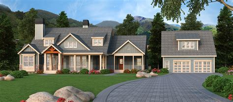 House Plans With Detached Garages by Craftsman Retreat With Detached Garage 29866rl