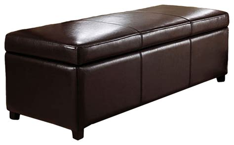 Storage Ottomans And Benches Avalon Large Rectangular Brown Faux Leather Storage Ottoman Bench Transitional Accent