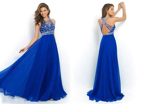 royal blue formal dresses ulass royal blue chiffon a line prom dress 2015 halter bandage backless sparkly beading