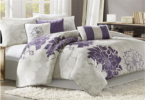 Lola Gray Purple 7 Pc King Comforter Set King Linens Gray Purple Bedding Sets