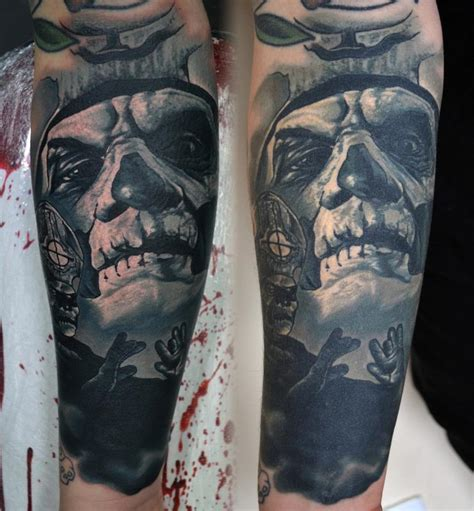 black and grey tattoo fresh vs healed healed papa emeritus comparison by alan aldred tattoonow