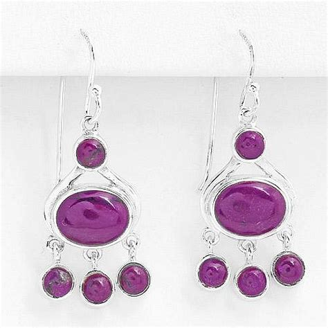 Masi Silver Jewelry by Genuine Purple Agate Solid 925 Sterling Silver Dangle