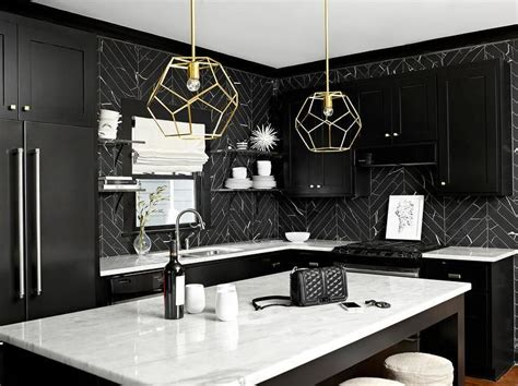 black marble countertops black and white kitchen features black shaker cabinets