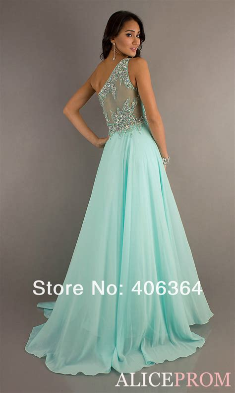 New Hot One Shoulder Sheer Back Sweetheart Crystal Mint Green Chiffon Long Pageant Prom Dresses
