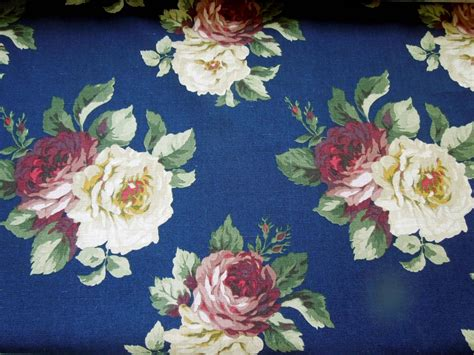 cabbage rose upholstery fabric vintage ralph lauren fabric large cabbage roses navy blue