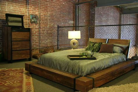 industrial beds industrial chic wood platform bed industrial bedroom