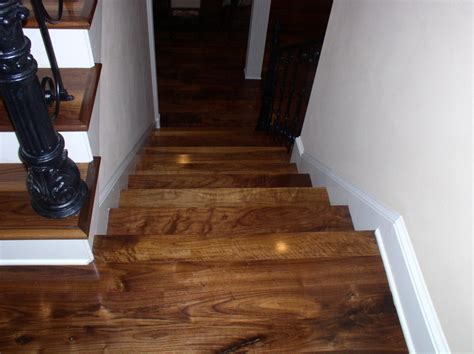 Wide Plank Solid Hardwood Flooring Tiles In Stairs With