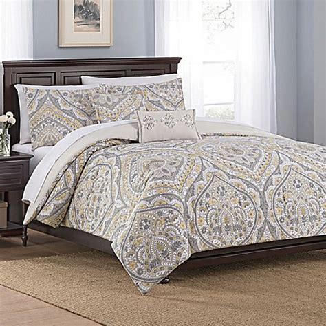 Damask Bed Set Floral Damask 5 Comforter Set In Gold Bed Bath Beyond