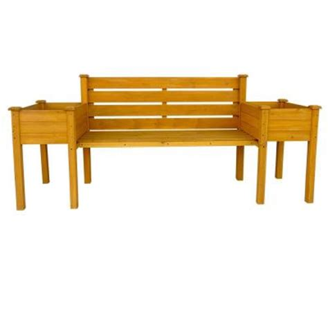 home depot wood bench leisure season wooden medium brown patio planter bench