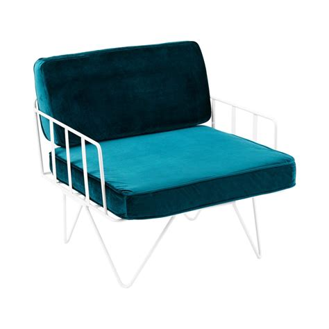 green velvet seat cushions sofa lounge white wire single seater chair with velvet