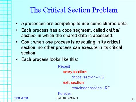 Critical Sections by The Critical Section Problem