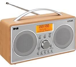 logik l55dab15 portable dab fm clock radio silver