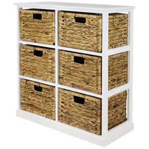 hartleys 2x3 white wood home storage unit 6 wicker drawer