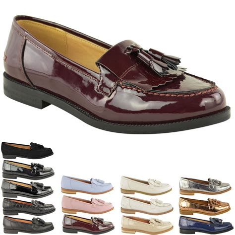 F Tassel C1 womens flat casual office patent faux leather