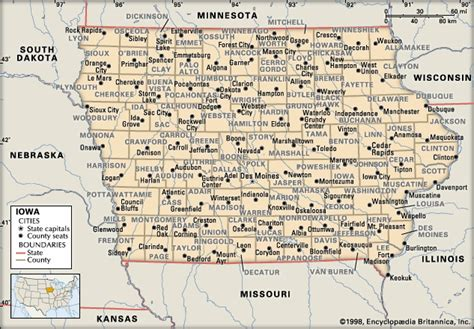 map of usa showing iowa state iowa counties encyclopedia children s homework