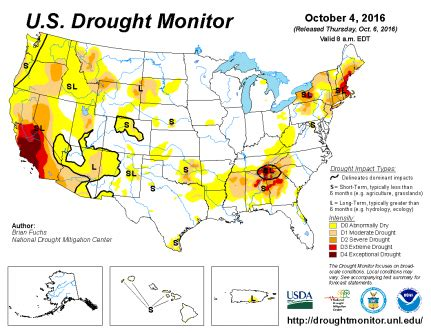 map of us drought states u s drought monitor update for october 4 2016 national