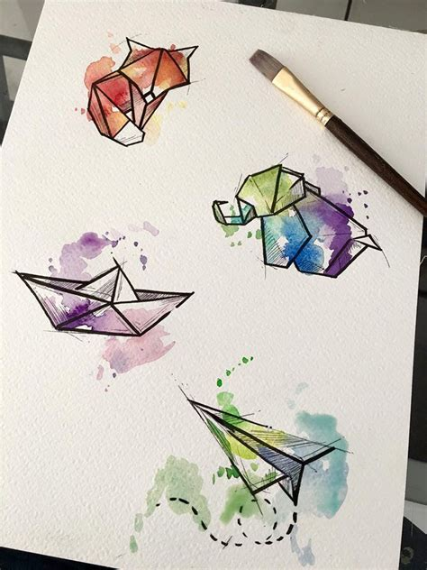 watercolor tattoo origami pics of my favorite geometric tattoos watercolor