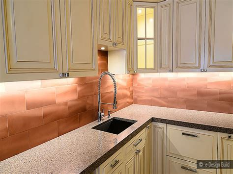 copper kitchen backsplash copper subway tile backsplash
