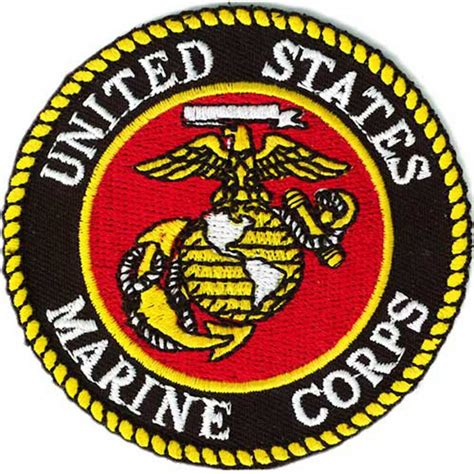 Black Tag White Patch Army Ready Stock us marine corps logo small embroidered patch