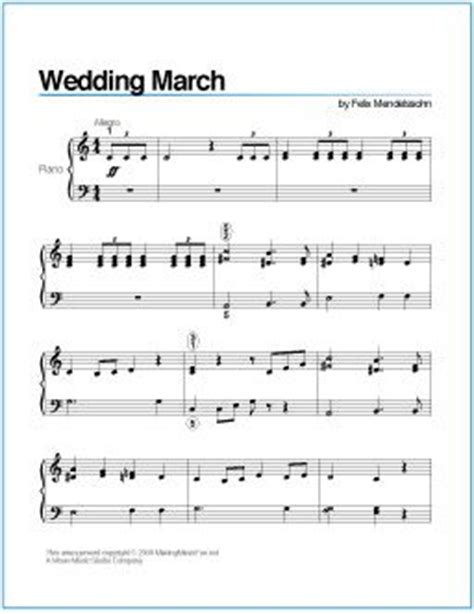 Wedding Song Piano Notes by Wedding March Mendelssohn Printable Sheet For