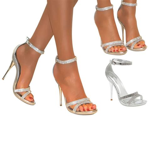 Sendal High Heels Wanita 3 diamante silver strappy ankle sandals shoes heels wedding bridal size 3 8 ebay