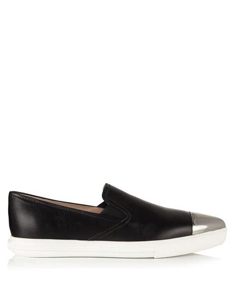 miu miu sneakers sale miu miu black leather slip on sneakers designer footwear
