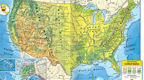 us map with states and geographical features 14 united states l1 physical political characteristics