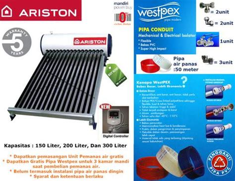 Daftar Ariston Solar Water Heater dinomarket pasardino ariston solar water heater eco 1812 tr kapasitas 150liter