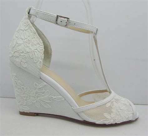 White Wedge Wedding Shoes by White Lace Wedding Shoes Lace Wedge Bridal Shoes Peeptoes