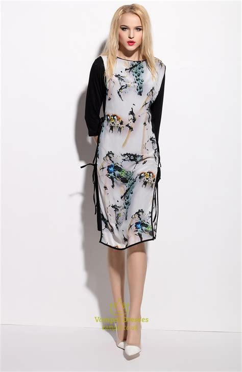 Print 3 4 Sleeve Dress vintage style black and white floral print 3 4 sleeve