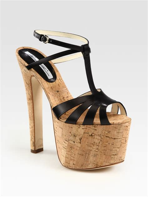 t platform sandals brian atwood fio leather t cork platform sandals in