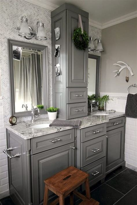 Where To Put Things In Kitchen Cabinets Before And After Grey And White Traditional Bathroom
